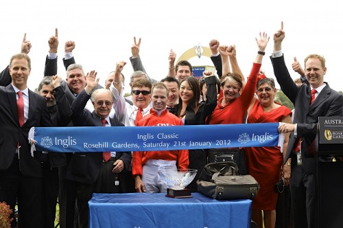 Cavalry Rose's winning owners after Triple Crown's second Inglis Classic victory