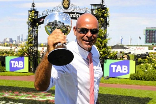 """Steve, a Triple Crown owner, """"Living the Dream"""" during the Flemington carnival"""