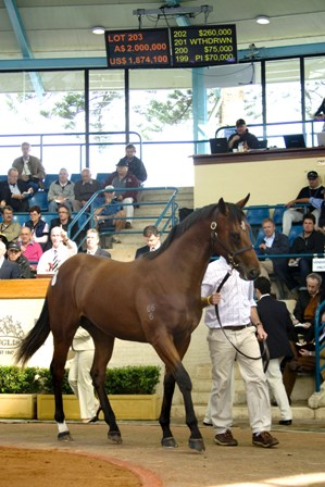 Lot 203 Redoutes Choice x Lavishly colt at the  Inglis Easter Yearling Sale sold for $2million