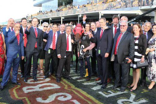 The owners of Redzel after his Doomben 10,000 win