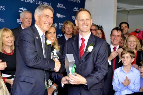 Chris Ward accepting the first ever trophy of 'The Championships' after winning the $1m Group 1 Sires' Produce Stakes